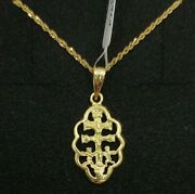Pendant And Chain Gold 18k. Cross Of Caravaca With Pull Ondulado. 0 27/32in