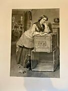Very Large 27 X 40 Antique English Print 1867 Accepted F. Stacpoole T. Faed