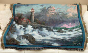 Thomas Kinkade Conquering The Storm Lighthouse 50x60 Throw W/psalm 912 Np