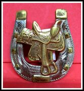 Small Antique Renalde High Back Saddle And Horse Shoe Hand Made Belt Buckle