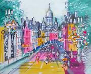 Charles Cobelle Road To Sacre Coeur Acrylic On Canvas Signed Lower Right