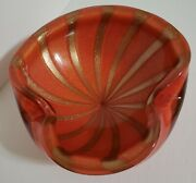 Vintage Mid Century Murano Glass Barbini Circus Tent Red Gold Large Ashtray Bowl