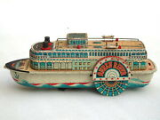 Vintage Tin Toy Queen River Cruise Passenger Ship Boat Ship Japan Battery Op.
