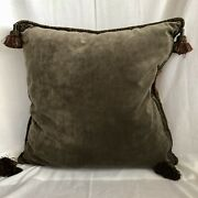 """Lot Of 2 Gorgeous 26"""" Sq. Large Chenille Moss Green And Red Damask Floral Pillows"""