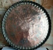 Antique Engraved Middle Eastern Red Copper Brass Big Tray Plate 60 Cm /4 Kg.