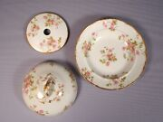 Limoges France Pink Chfield Haviland 3 Piece Butter Dish Dome Chf774