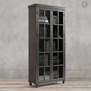 Restoration Hardware 'annecy' Tall Glass/metal Wrapped Cabinet