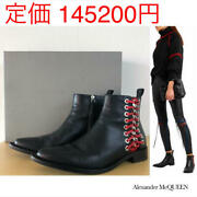 Alexander Mcqueen Leather Short Boots Shoes Black Red Women Eu 38.5 From Japan