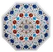 30and039and039 White Marble Coffee Dining Table Top Pietra Dura Inlay Antique Outdoor