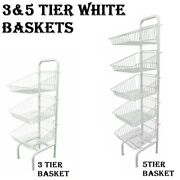 Basket Stand 3 And 5 Tier White Shop Display For Bread Snacks Clothes Or Toys