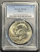 1973-s Silver Eisenhower Dollar Pcgs Ms-68 Buy 3 Items Get 5 Off