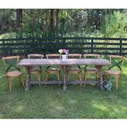 Country Farm Dining Set With Six Chairs And Wood Trestle Table