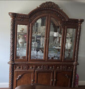 Real Wood China Cabinet With Lights Mirror And Glass