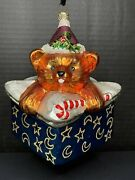 """Christopher Radko Bear In Gift Box Glass Exclusive Ornament 6-1/2"""" X 5-1/2"""""""