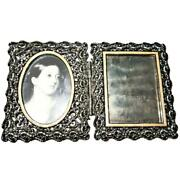 Jay Strongwater Enamel Jeweled Square Oval Hinged Double Picture Frame