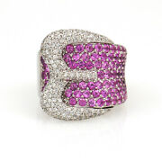 Pave Pink Sapphire And Diamond Buckle Ring In 14k White Gold Signed Dd