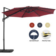 10 Ft Patio Hanging Umbrella Offset Cantilever Rotation Outdoor Tilt Shade Red