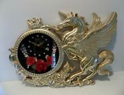 Vintage Cute Unicorn Wall Clock Gold Color Red Silk Roses Butterfly Second Hand