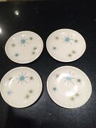 """4 Franciscan Atomic Starburst 6 1/2"""" Bread And Butter Plates"""