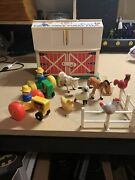 Vintage Wood Fisher Price Play Family Farm W/ Barn Animals, And Accessories