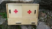 Vintage Wooden Old Medicine First Aid Box Cabinet
