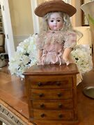 6 19th Century Miniature Wooden Chest Of Drawers- Circa 1840- Rare Size