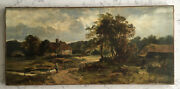 Antique Leopold Rivers Listed Artist Stanmore Sussex Art Oil Painting On Canvas