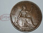 1937 Great Britain 1 Penny George Vi Uk Coin Km 845 Lot G94