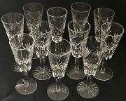 """Qty 11, Waterford Crystal Ashling Pattern Champagne Flutes. 7 1/4"""" Tall Vtg"""