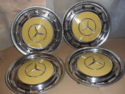 Mercedes Benz Genuine Yellow Hubcap Wheel Center Caps Cover X 4 R107 W123 W115