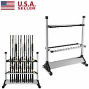 Portable Alloy 12/24 Rods Rack Fishing Rod Pole Holder Stand Storage