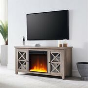 Hennandhart Gray Oak Tv Stand With Crystal Fireplace Insert