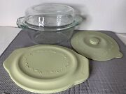 Princess House Fantasia Crystal Clear Glass Bowl Lid Silicone 2 Bowls In One 4pc