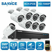Sannce 8ch Hd 5mp Nvr Full 1080p Poe Ip Security Camera System Audio Monitoring