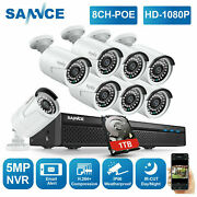 Sannce 8ch 5mp Nvr Full 1080p Poe Ip Security Camera System Audio Monitoring 1tb