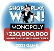 500 Monopoly 2021 Pieces Tickets Albertsons Safeway New Unopened