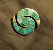 Vintage Zuni Turquoise Inlay Hummingbird Pin, Collectible Quality