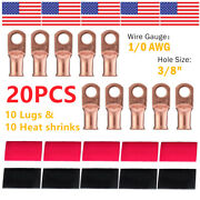 10 1/0 Awg Gauge Copper Lugs W/ Red And Black Heat Shrink Ring Terminals