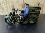 Vintage Cast-iron Harley Davidson Parcel Post Motorcycle With Driver