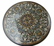 48'' Black Dining Marble Table Top Inlay Pietra Dura Antique Home Decor Gift