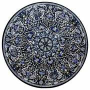 4and039x4and039 Black Dining Center Marble Inlay Table Top Antique Precious Stones Decor