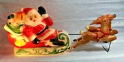 Vintage 1970 Empire Blow Mold Light Up Santa Sleigh And 2 Reindeer