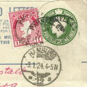 Ireland/eire Mixed Franking Cover 1924 Registered Kgv 5d Green Stationery E05c