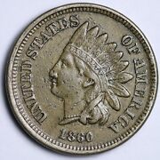 1860 Pointed Bust Indian Head Cent Penny Choice Au Free Shipping E105 Knm