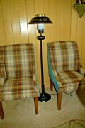 1960and039s Early American Black Gold Tole Metal Floor Lamp With Shade 3 Way Light