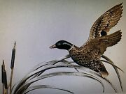 Great English Sterling Silver Quartz Sculpture Enamel Flying Duck In Cattail