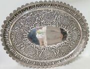 .anglo Indian C1905 Silver Hand Hammered Large 51cm Serving Presentational Tray
