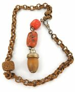 .antique Wicker Fob Chain With Coral Beads And Carved Wooden Acorn Like End.