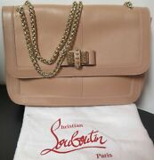 .auth Christian Louboutin Natural Leather Large Sweet Charity Shoulder Bag