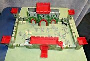 Marx Medieval Castle Tin Castle Fort W/ Horses And Knights Warriors And Horses